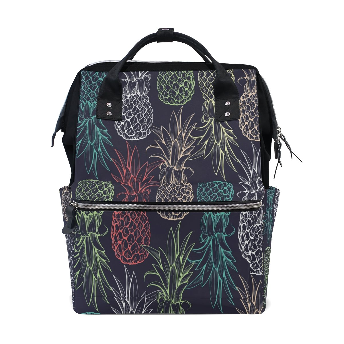 WOZO Fashion Pineapple Multi-function Diaper Bags Backpack Travel Bag