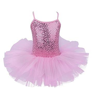 FEESHOW Girls Sequined Ballet Leotard Dance Tutu Dress Dancer Ballerina  Outfit Fancy Fairy Costume Pink 5 b7b1ba0b5310