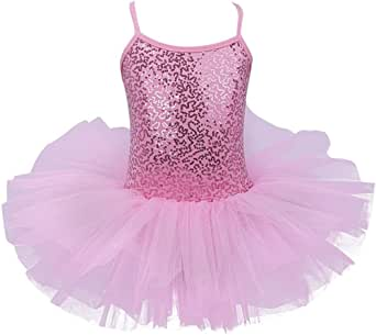 TiaoBug Girls Spaghetti Sequined Ballet Dance Dress Leotard Tutu Skirt Pink Turquoise White
