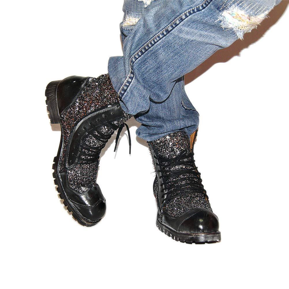 Jiahe Große Größe Martin Martin Martin Stiefel Männer Arbeitsstiefel Geschnürt Schuhe Flut Schuhe Niedrigen Absatz Stiefel Motorrad Schuhe Punk Lässige Cowboystiefel,schwarz,US11 01c2e8