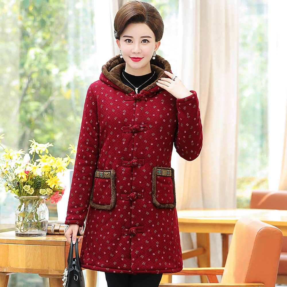 A Women's Winter Warm Hooded Coat Long Cotton Padded Jackets,Stylish and Comfortable Temperament,A,XL