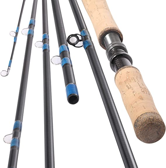 14' Spey Fly Fishing Rod 6 Sections 14FT 9/10 Spey Rod Carbon Fiber Blanks Two Handed Handle Cork Grip