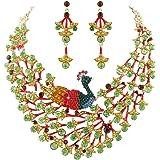EVER FAITH Women's Austrian Crystal Enamel Peacock Statement Necklace Earrings Set Gold-Tone