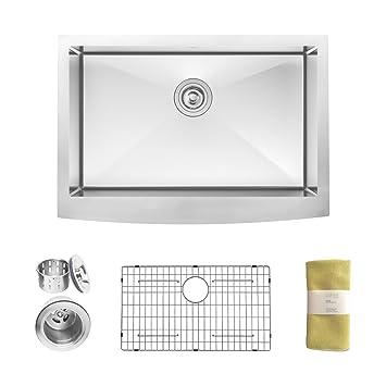 Zuhne 30 Inch Farmhouse Apron Deep Single Bowl 16 Gauge Stainless Steel Luxury Kitchen Sink