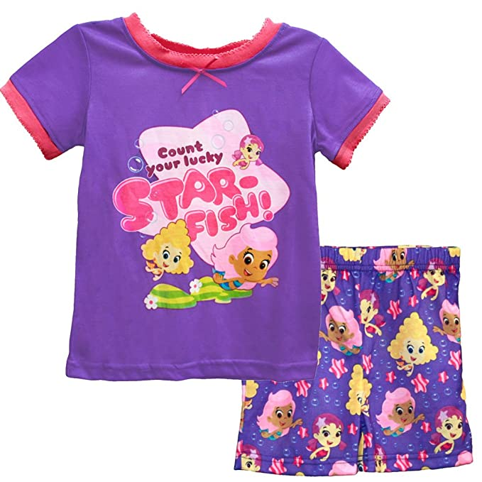 a8369ae931 Nickelodeon Girls  Bubble Guppies Top   Shorts Pajama Set 4T Pink Purple