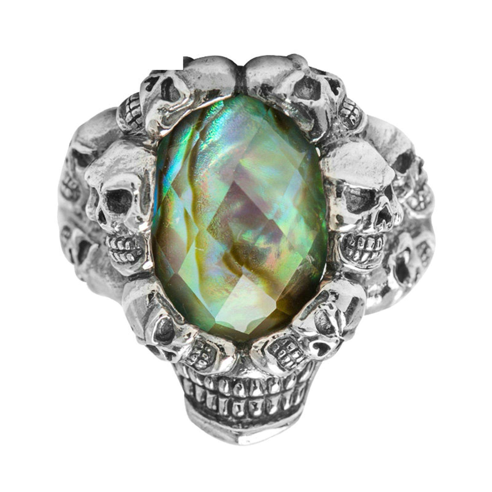 Beydodo Mens Silver Ring, Skull Ring Colorful Cubic Zirconia Size 11 Punk Biker Ring Bands