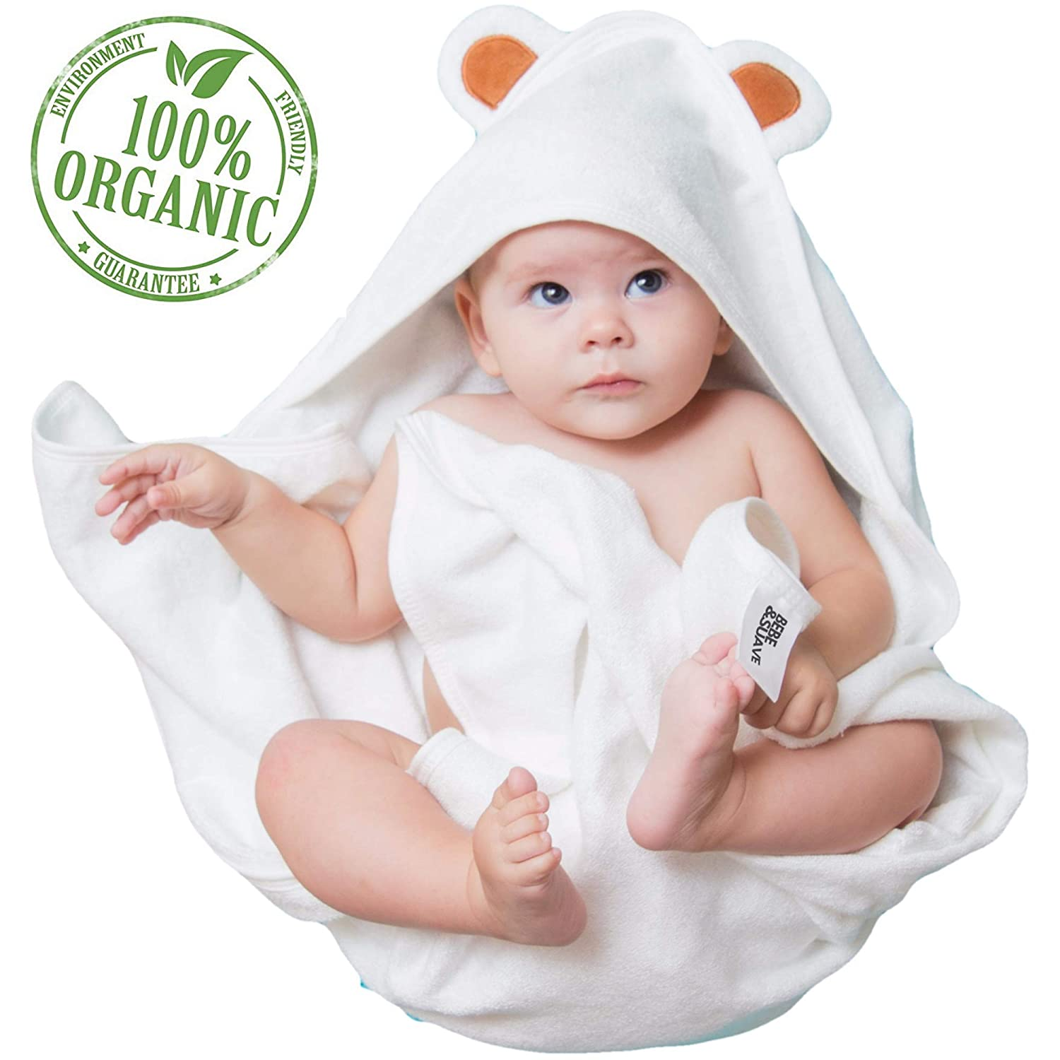 Premium Ultra Soft Organic Bamboo Baby Hooded Bath Towel with Bear Ears - Baby Shower Gift | For Boys and Girls Newborn Infant Toddler- Extra Absorbent and Hypoallergenic for Sensitive Skin - Large J & J