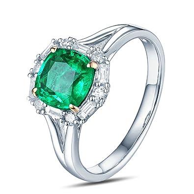 Epinki 18k Oro Anillos para Mujer Cuadrado Anillo Solitario Anillos de Compromiso con Blanco Verde Diamante Esmeralda: Amazon.es: Joyería