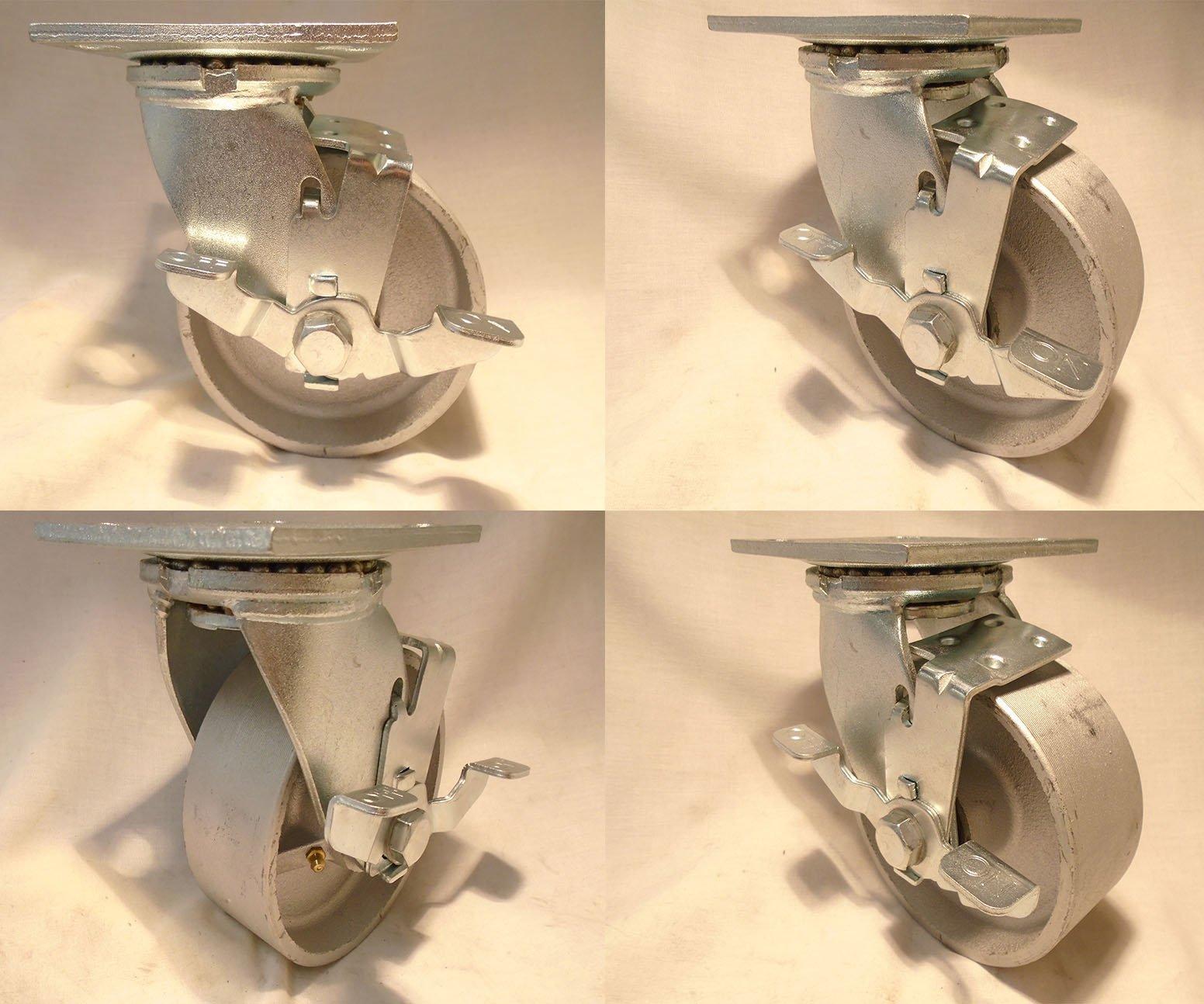 5'' X 2'' Swivel Casters Heavy Duty Semi-steel Iron Wheel with Brake (4) 1000 Lbs Each Tool Box