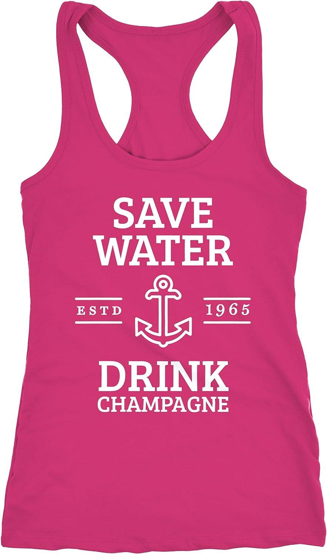 Damen T-Shirt Save water drink Champagne Slim Fit Moonworks®