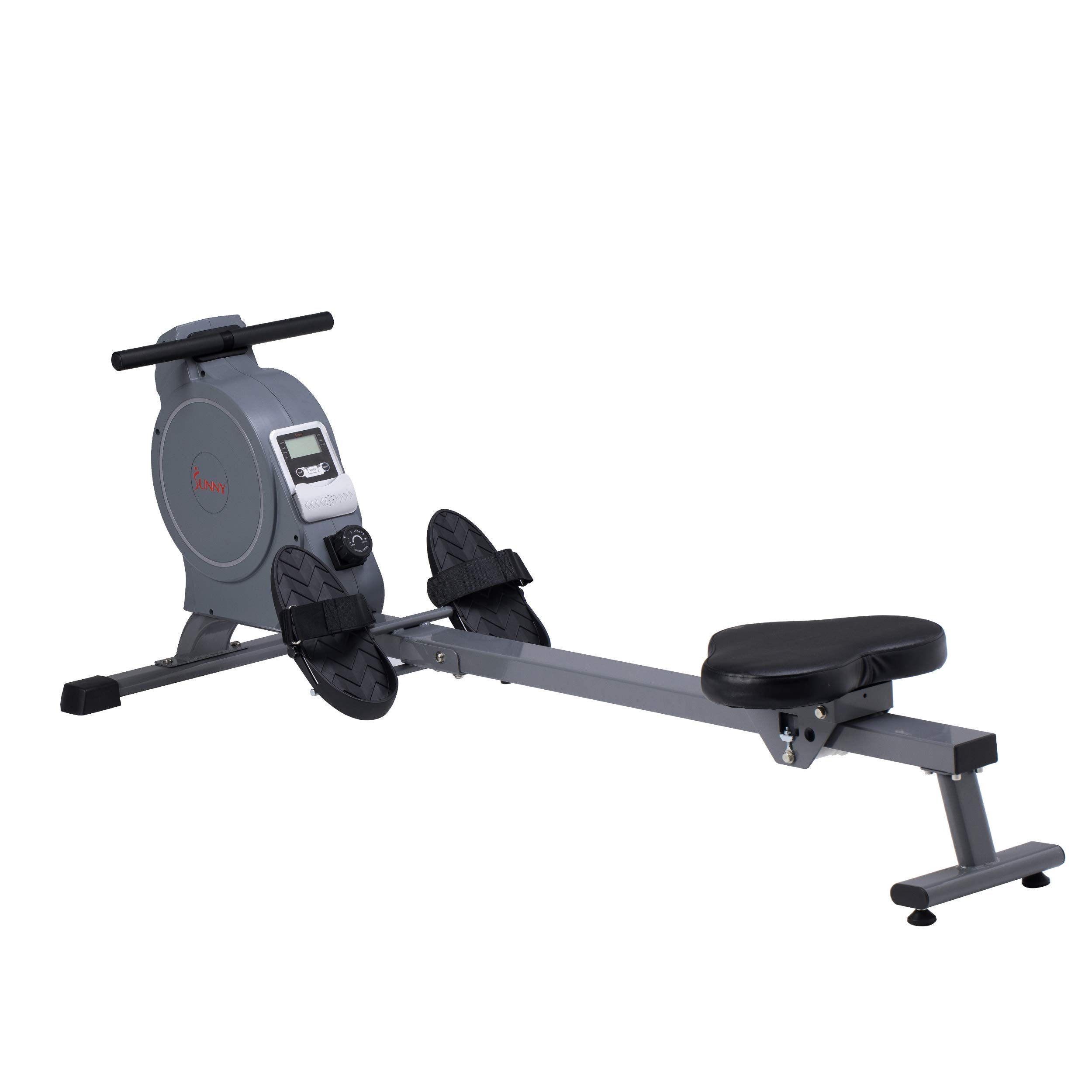 Sunny Health & Fitness Magnetic Rowing Machine Rower, 5.5lb Flywheel and LCD Monitor with Tablet Holder - SF-RW5885