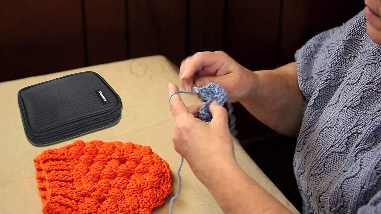 pas d/'accessoires inclus Gris /à pois Damero /Étui aux accessoires de crochet-- Petit sac organisateur /à outils de crochet,Qualit/é haute,Mati/ère imperm/éable,L/éger et Facile /à porter
