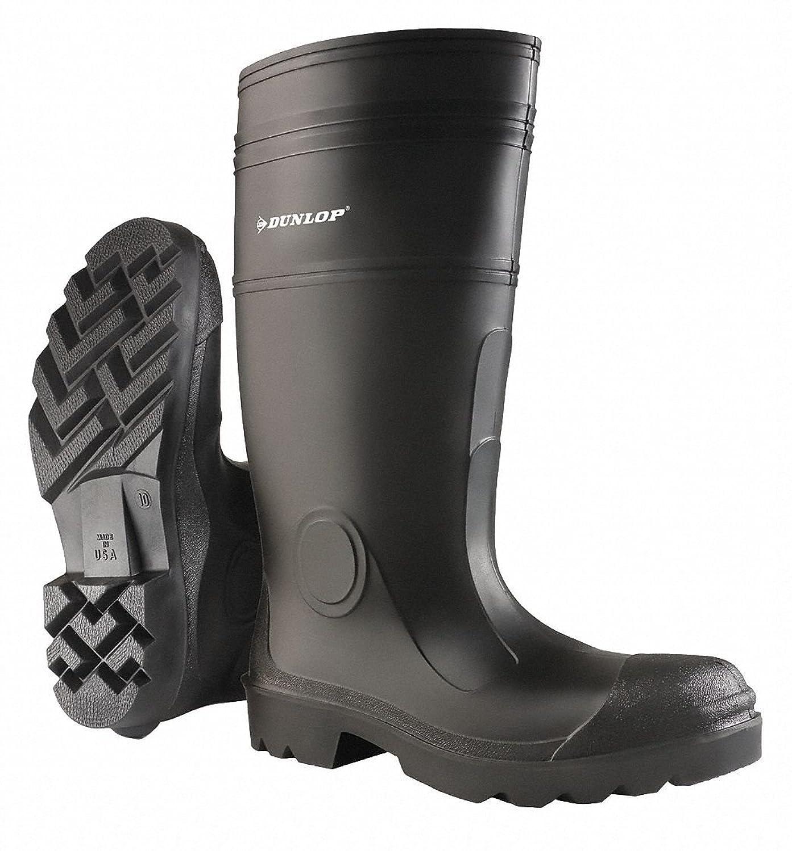 "16""H Men's Knee Boots Plain Toe Type PVC Upper Material Black Size 11 11 Black 874011133 - 1 Each"