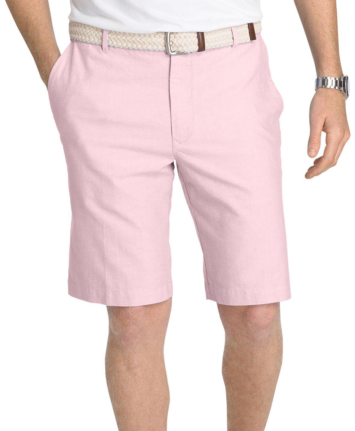 Izod Men's Flat-Front Oxford Shorts (38W, Peony)