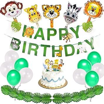 40pcs Jungle Safari Birthday Party Supplies Animals Decorations Happy Banner Animal