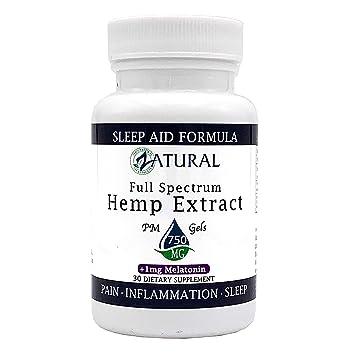 Hemp Extract Soft Gels + Melatonin Sleep Formula - (30 Soft Gel 750mg + Melatonin