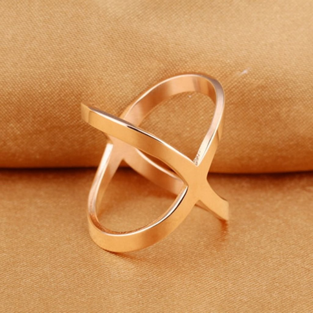 Bishilin Stainless Steel X Cross Rings Rose Gold Plated Women Anniversary Bands Size 7