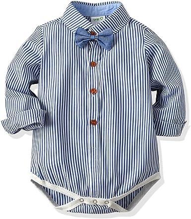 junkai Gentleman Baby Boy Clothing Camisa Infantil Blusa Ropa Boda Recién Nacidos Mamelucos Bebés Monos Manga Larga Baby Boy Jumpsuit: Amazon.es: Ropa y accesorios