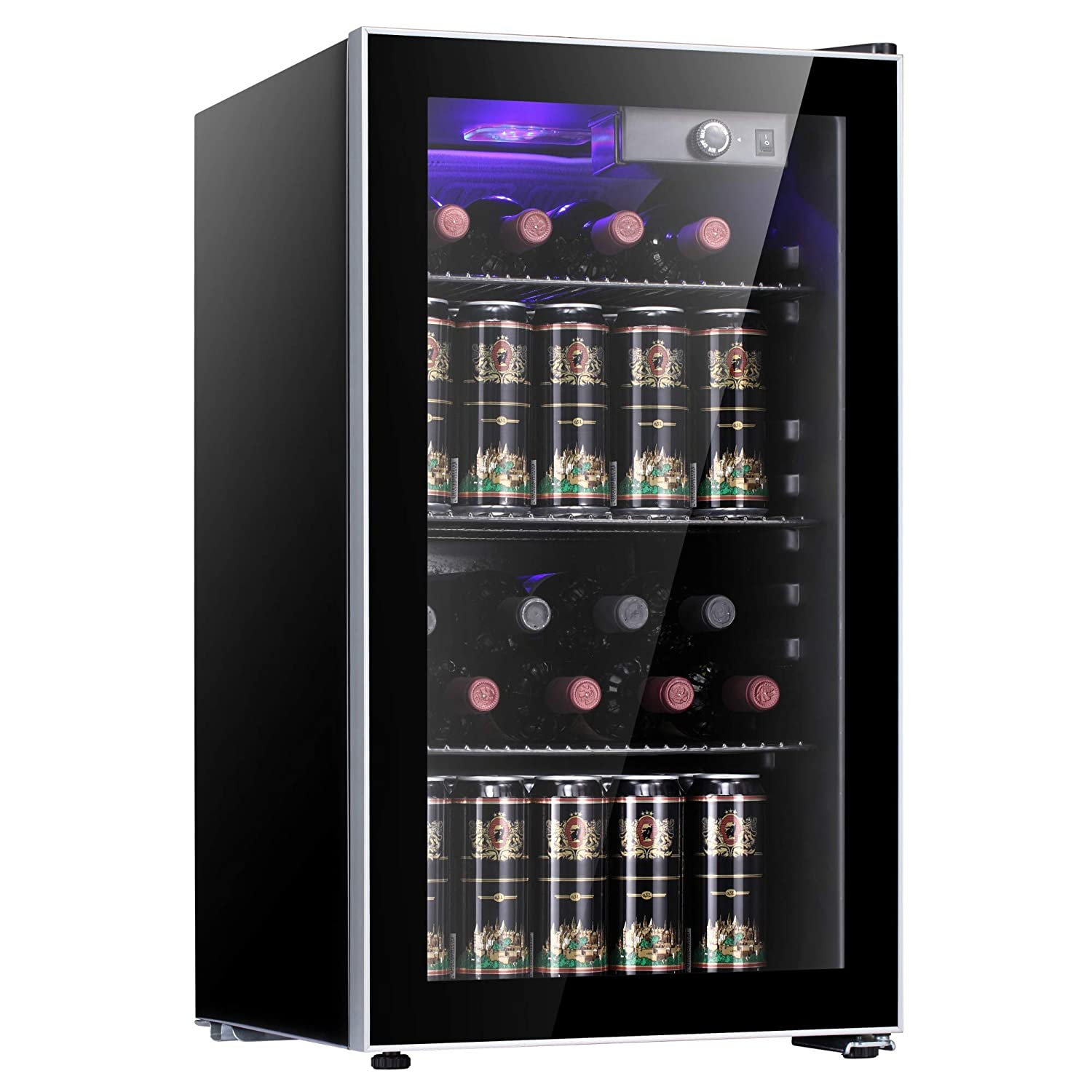 JAMFLY 17 Bottle Refigerator Wine Cooler/Cabinet Counter Top Wine Cellar with Compressor, Freestanding/Bottle Refrigerator,Quiet Operation Fridge,Black