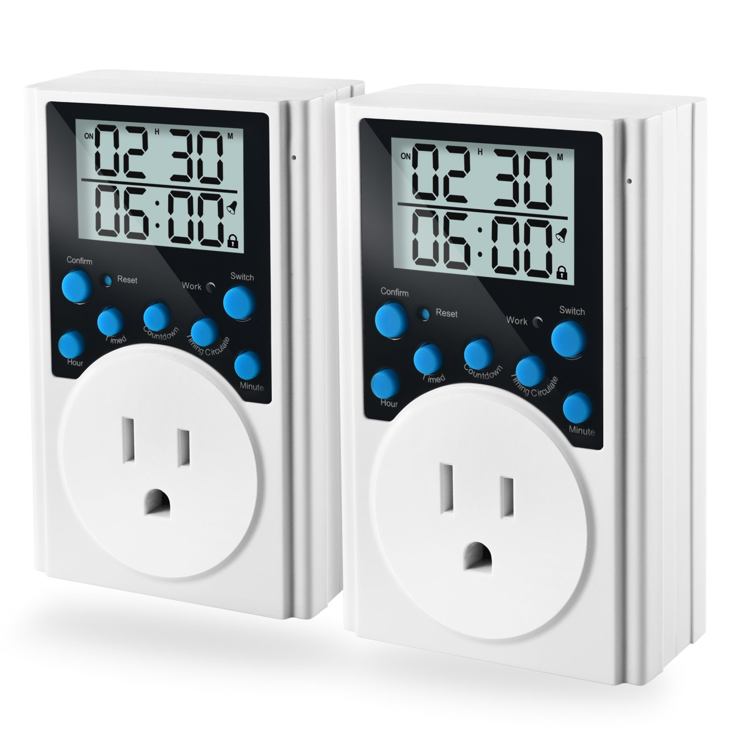 Programmable Plug-in Light Timer for Electrical Outlet Indoor Digital Timer Switch with Countdown and Short Interval Cycle, 2 Pack
