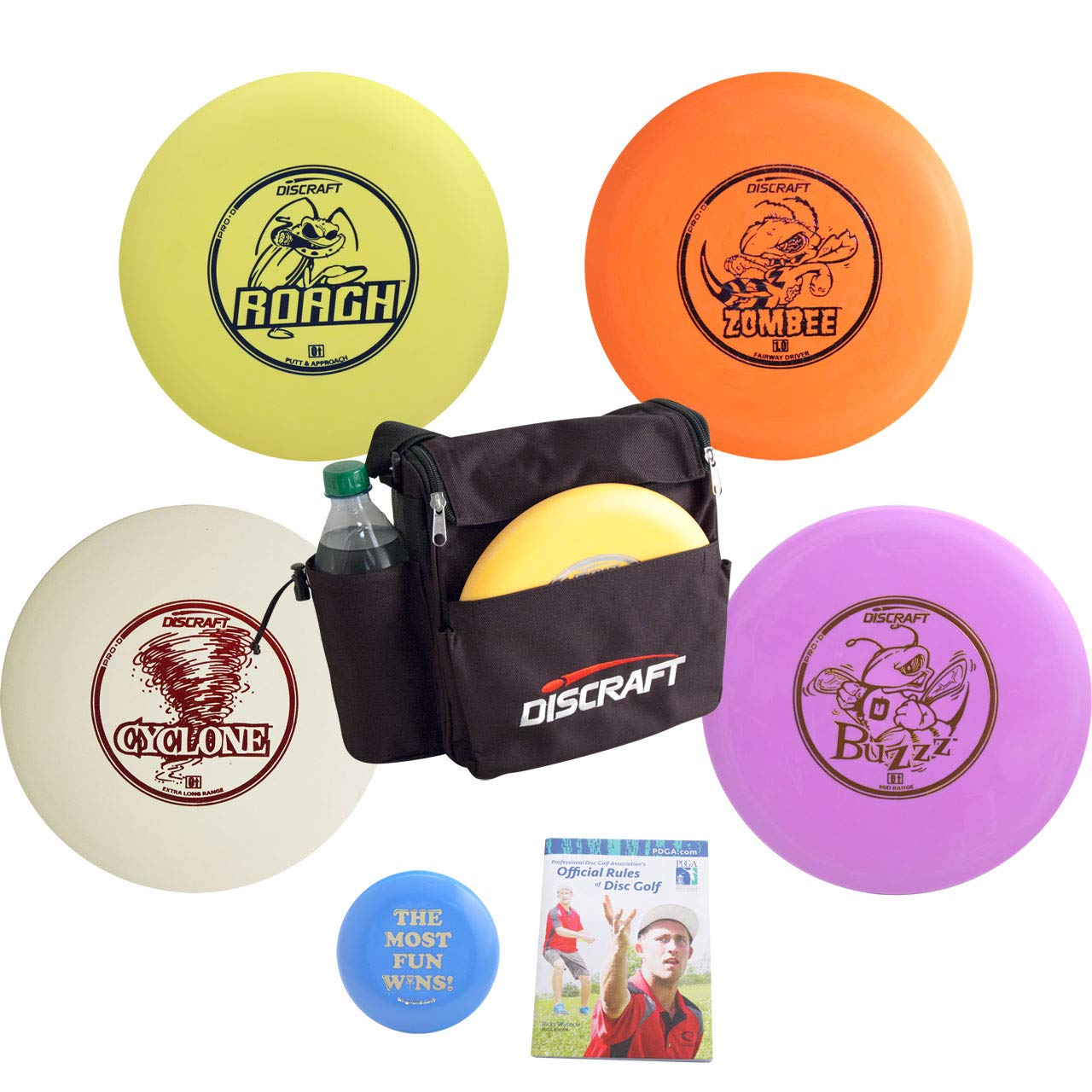 Discraft Complete Disc Golf Gift Set Bundle - Weekender Bag, 4 Discs + Mini Marker Disc & Rules (Colors May Vary) (4 Discs (Distance Driver, Fairway, mid-Range, Putter, Extras)) by Discraft
