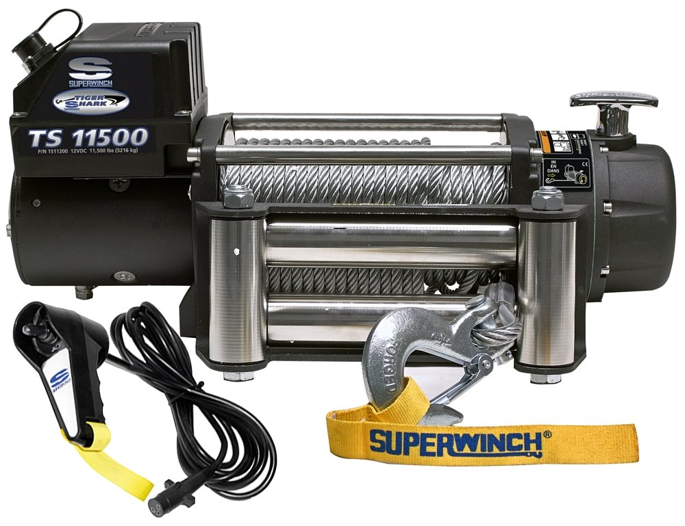 12 VDC Winch 309kg Capacity with Aluminum Hawse and Synthetic Rope Superwinch 1595201 Tiger Shark 9.5 9500-Pound