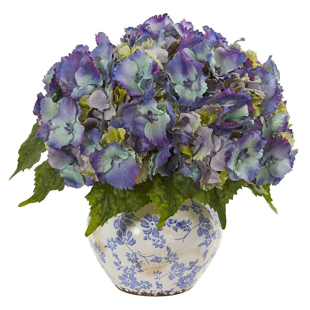 MARJON 花 アジサイ 造花 デザイン 花瓶 シルクアレンジメント ブルー B07Q2YMXKB