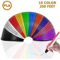 3D Pluma Filamento Recargas PLA 1.75 mm, THZY Filamentos de 3D Impresión 10 Colores, 6 Metros Cada Rollo, Material de Resina de la Planta y Sin Olor Mejor Para la Salud, Fit For Most 3D Printer Pen
