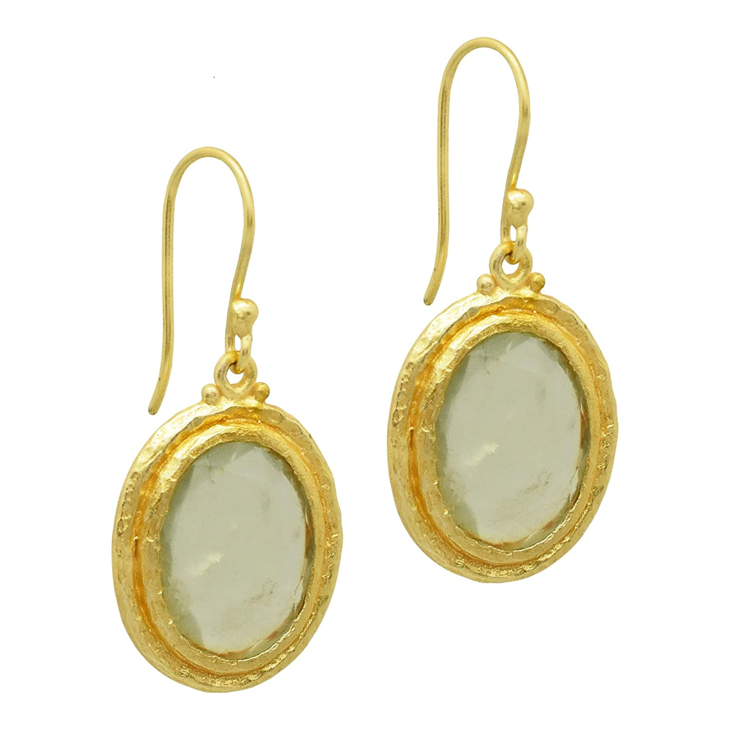 The V Collection earrings 22k yellow gold plated prehnite handmade dangling earrings for women and girls