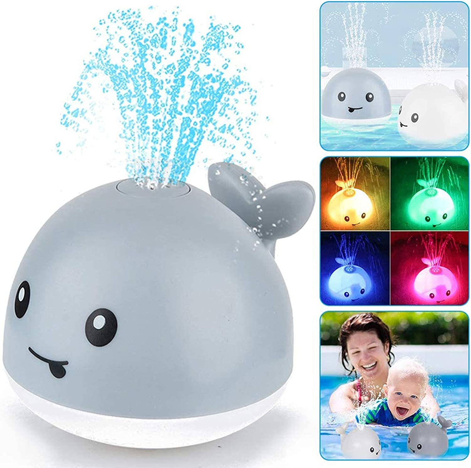 with LED Light Bathtub Toys Childrens Favorite Baby Water Toys Durable Electric Induction Water Spray Bathtub Whale CHENYING Baby Shower Toys Whale Automatic Induction Water Spray Toy White