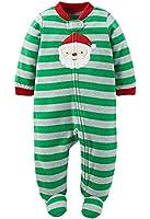 Carters Infant Boys Green Fleece Santa Claus Christmas Sleeper Sleep & Play