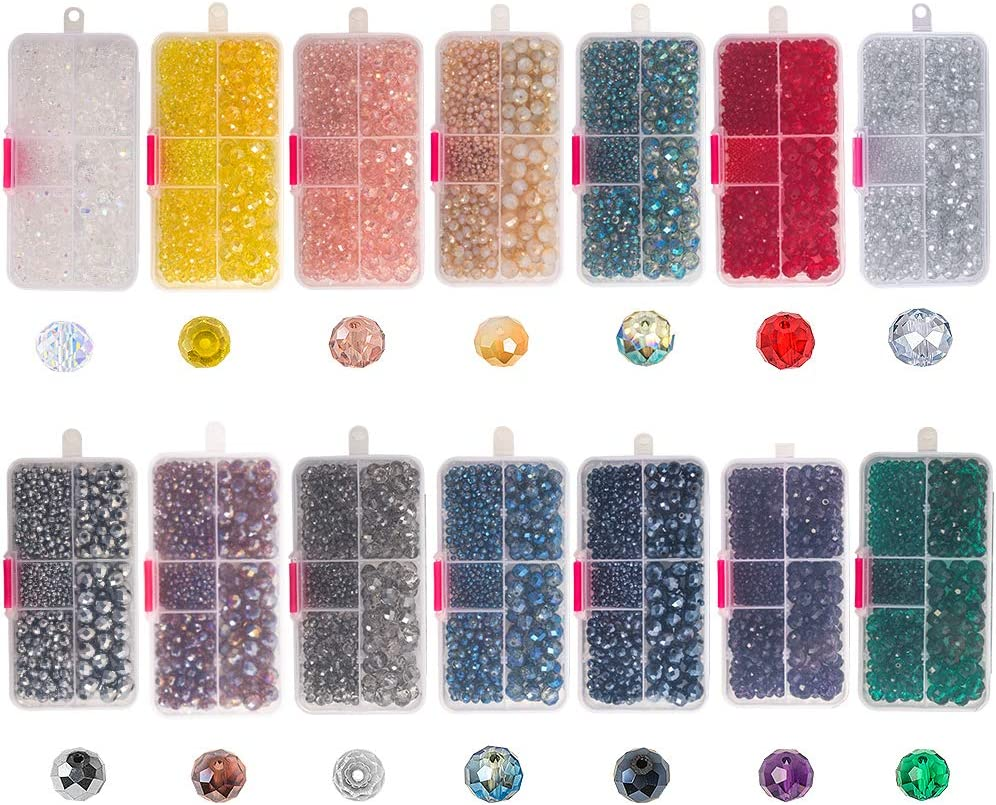Novborcz Faceted Crystal Glass Beads Necklaces and Other Jewelry Suitable for DIY White Half AB Making Bracelets