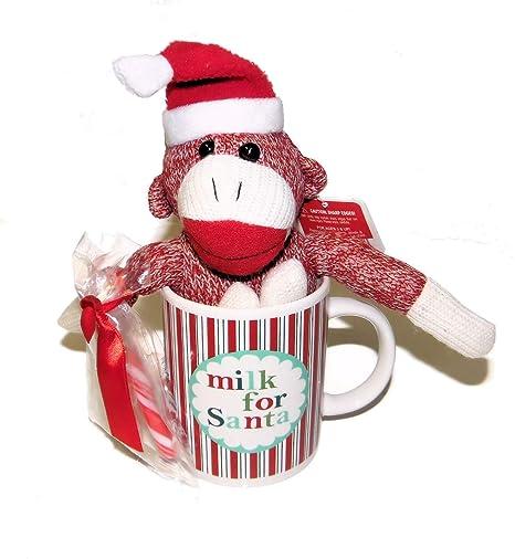 92db4ba8f Amazon.com: Plush Stuffed Christmas Red Sock Monkey in Santa Hat in ...