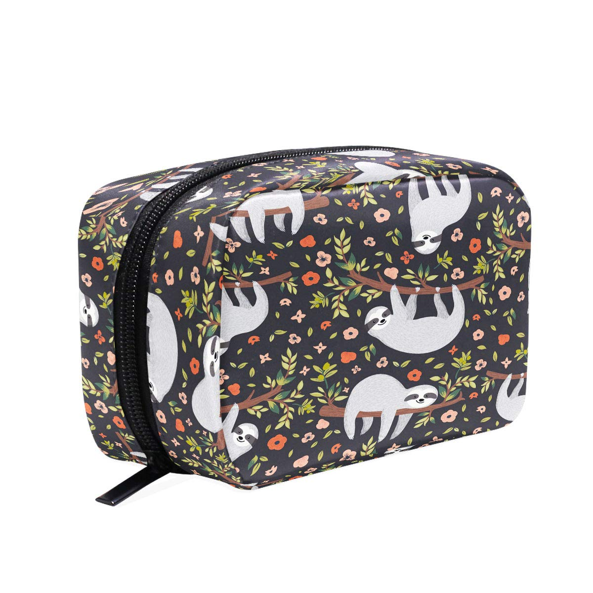 Baby Sloth Flowers Makeup Bag Cosmetic Bag Toiletry Travel Bag Case for Women, Cartoon Animal Portable Pencil Pen Organizer Storage Pouch Bags Box