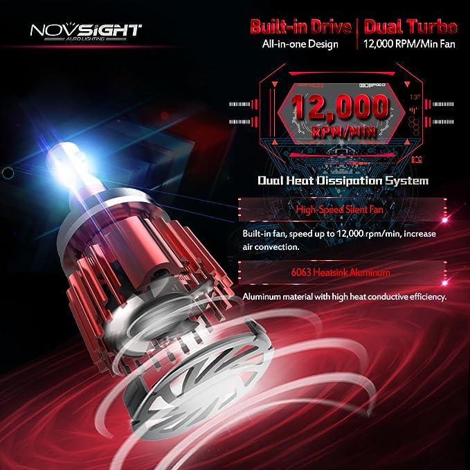 conversi/ón de luz 6000/K Faro de coche LED maximizador H7 Novsight 10000 lm 60/W
