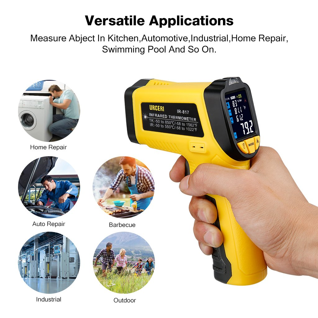 URCERI Infrared Thermometer IR-817-58°F~1022°F (-50°C~550°C) Digital IR Temperature Gun Non Contact Laser with Color Display K-Type Thermocouple for Cooking Kitchen Food Meat Grill by URCERI (Image #4)