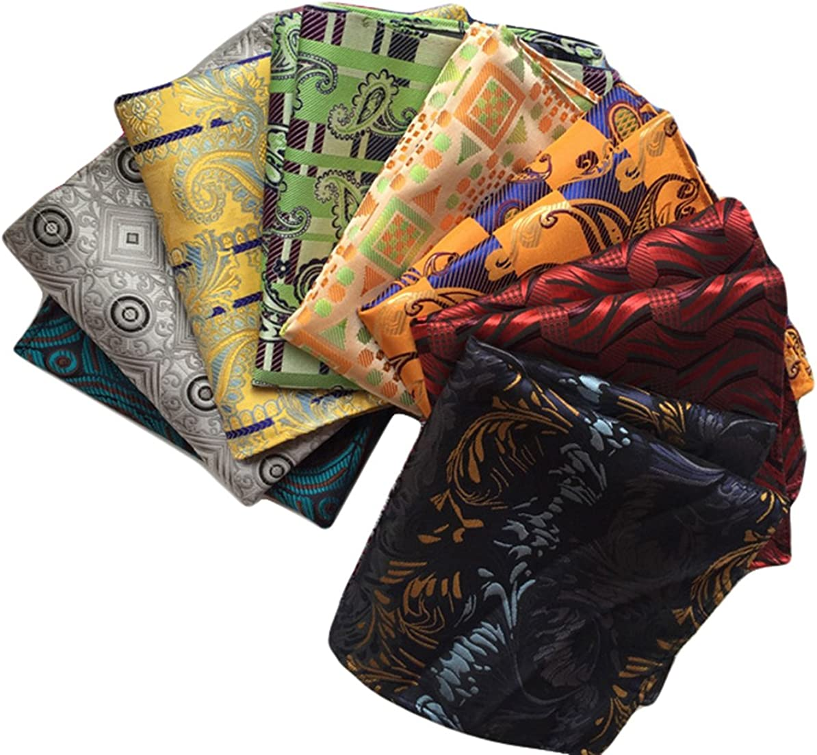 MENDENG Mens 8 Pack Mixed Paisley Floral Pocket Square Wedding Handkerchief