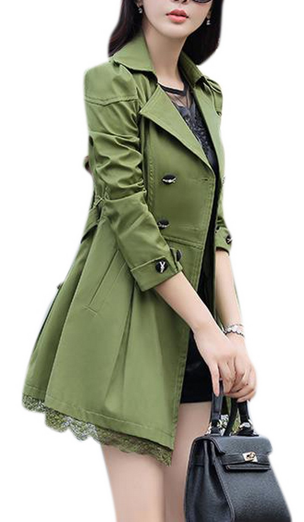 Lingswallow Women's Elegant Double Breasted Lace Hem Trench Coat Jacket Green