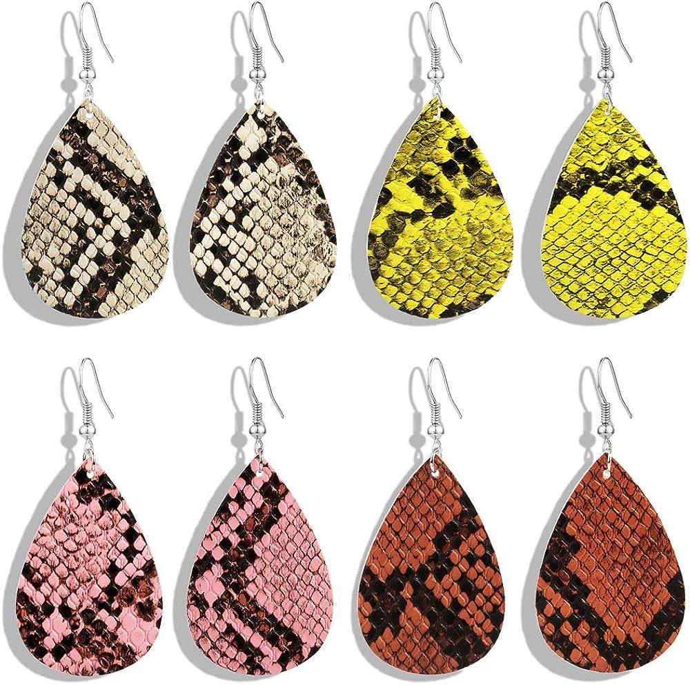 GIMEFIVE 4 Pairs Leather Teardrop Glitter Sequins Earring Lightweight Leaf Drop Bohemian Hollow Earrings for Women Girl