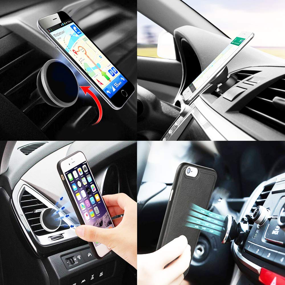 CoolKo Newest Strongest 360-degree Rotation Magnetic Support Phone Navigation Holder Car Air Vent Mount Clip for Smartphone iPhone X 8 7 Plus 6S 6 Galaxy S8 S7 S6 Edge Note 8 5 /& Mini Tablets 4351676049