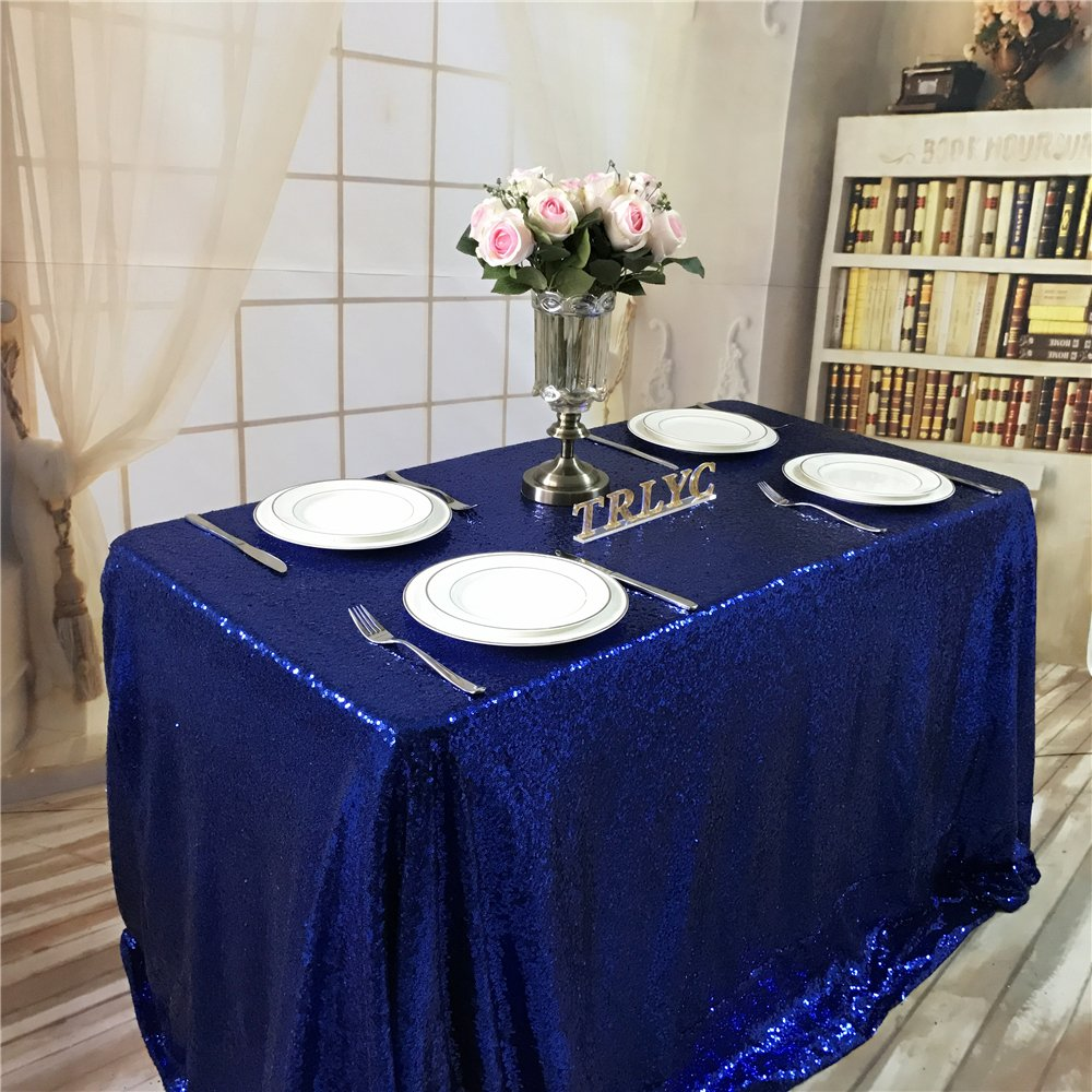 TRLYC 60x102-Inch Rectangular Gold Sequin Tablecloth for Wedding Party Christmas Day--Royal Blue