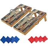 OOFIT Wooden Premium Cornhole Game Set with Weatherproof Coating, Portable Toss Boards Includes Set of 8 Corn Hole Toss Bags