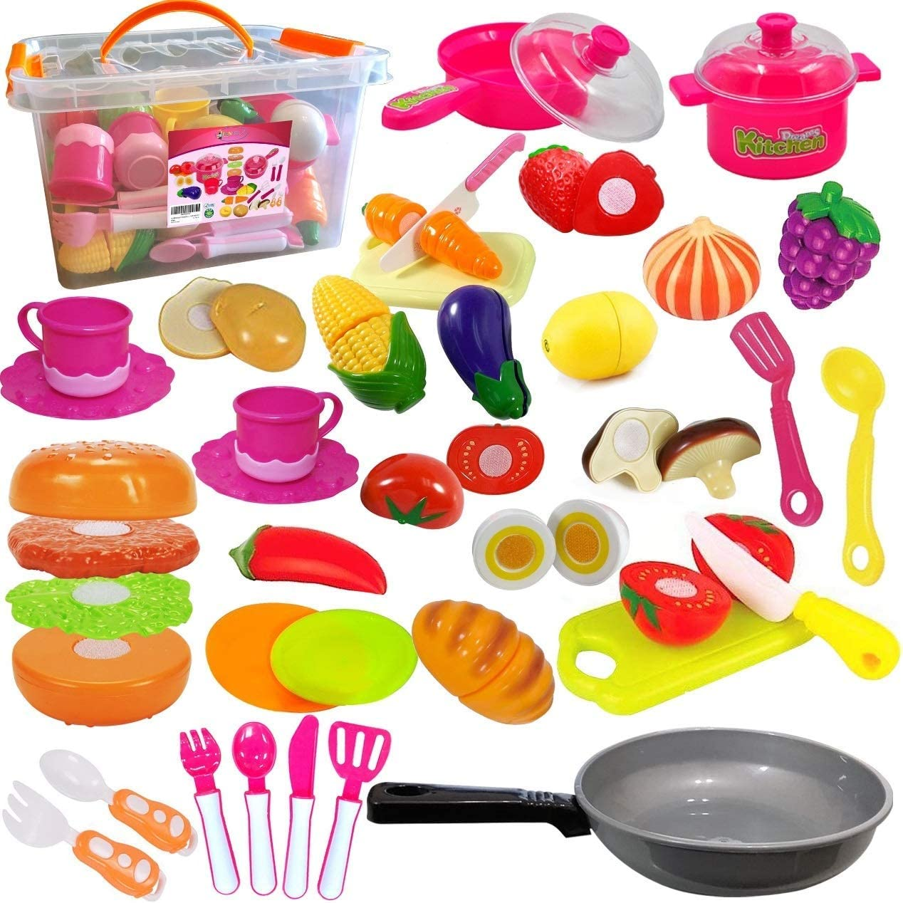 FUNERICA Add-More-Cutting-Food Bundle. Add The Play Pot Full of Beautiful Play Fruits and Veggies