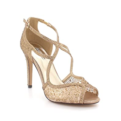 c4c951c3f AARZ LONDON Women Ladies Diamante Evening Wedding Party Prom Bridal Peeptoe  High Heel Brown Sandals Shoes