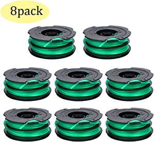 DF-080 Trimmer Replacement Spool Compatible for Black Decker GH1000 GH1100 GH2000 String Trimmer,DF-080 & DF-080-BKP Dual Line Edger Parts Replacement Spool 30ft 0.080-inch Auto-Feed Spool (8 Pack)