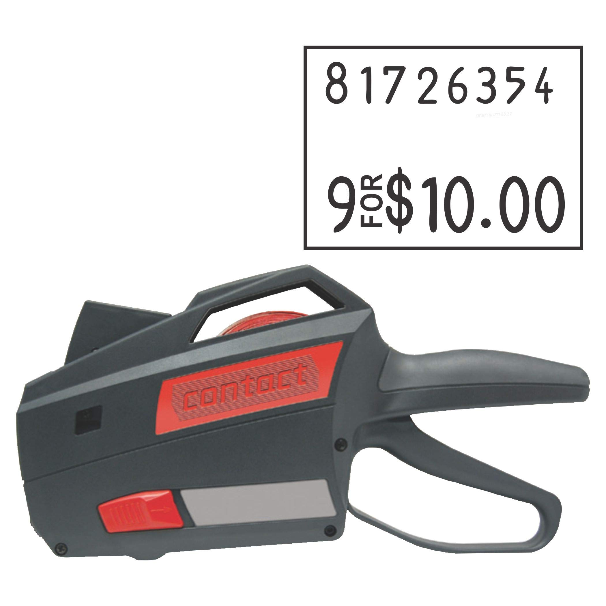 Contact Price Tagging Gun, Model 88.22, 2-Line, 8-Character Price Tag Gun, Includes 1 Pricing Gun and pre-Loaded with Over 1,100 Standard (White) Price Stickers. Label Size: (HxW) 16mm x 22mm