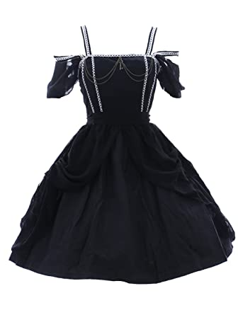 Kawaii-Story JL de 553 Negro Stretch Gasa Vestido de Gothic Lolita Dress Cosplay