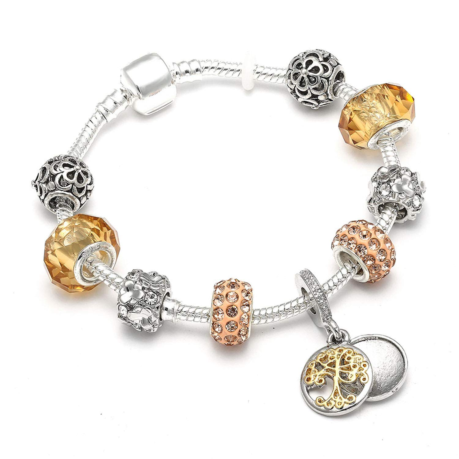 Vintage Silver Color Charm Bracelet with Tree of Life Pendant /& Gold Crystal BallBracelet Imitation Rhodium Plated 20cm