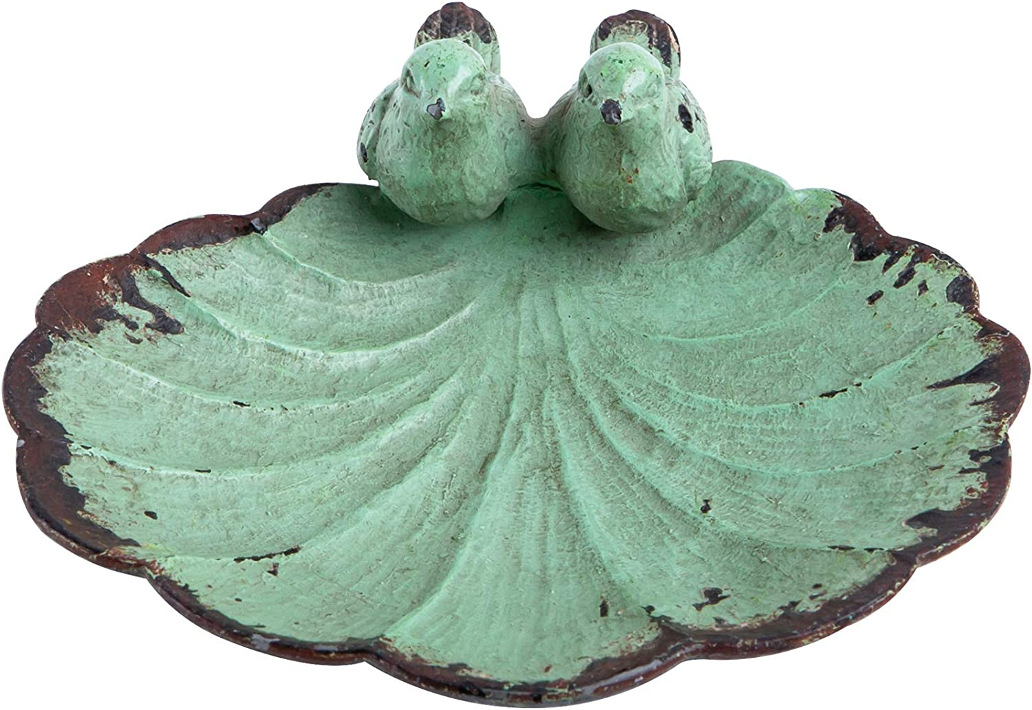 "NIKKY HOME Decorative Jewelry Dish with Metal Distressed Bird and Leaf, 4.37"" x 4.37"" x 1.62"", Green"
