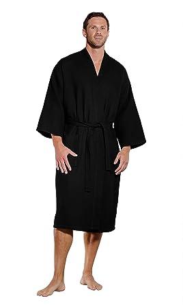 2beb50166e Turquaz Linen Lightweight Long Waffle Kimono Spa Robe for Men (Small Medium